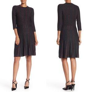 nanette lepore Stripe 3/4 Sleeve Fit & Flare Dress